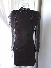 Topshop steampunk gothic lace stud high collar dress uk size 8 black