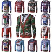 New Men Christmas Tree 3D Long Sleeve T-Shirt Tops Fashion Tee Xmas Shirts
