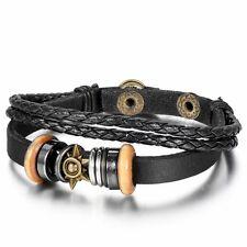 Cool Metal Tribal Sun Surfer Leather Cord Braided Bracelet Wristband Men's Black
