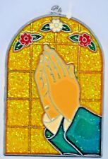 """""""My Morning Prayers"""" ~ Suncatcher with Stained Glass/Acrylic/Metal ~ 4.75"""" New"""