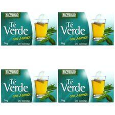 4 BOXES - GREEN TEA with MINT   -  HACENDADO  1 BOX = 20 TEA BAGS
