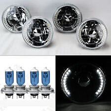 "FOUR 5.75"" 5 3/4 Round H4 Clear LED DRL Glass Headlights w/ Bulbs Set Plymouth"