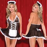 Women Sheer Mesh Maid Set Lingerie Costume Cosplay Mini Dress Role Play Babydoll