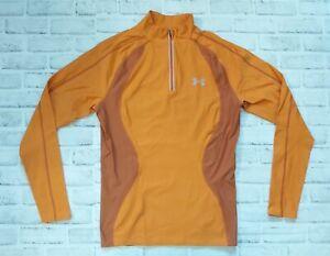 Under Armour Mens Long Sleeve Orange Pullover 1/4 Zip XL Running Active Wear