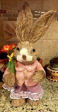 """Easter Bunny Girl Garden Rabbit Basket Eggs Decor 13"""" Spring Wreath Pick Swag"""