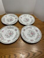 "Winley Fine China 5.5"" Gold Rimmed Floral Soup Bowls Lot Of 4"