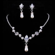 Parure Femme Bride Collier Boucles Oreilles Cristal Strass Perle Bijoux Mariage