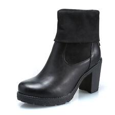 MFORSHOP scarpe donna stivaletti tronchetto risvolto scamosciato tacco 9 8232