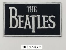 The Beatles Black White Drop T Logo Band EMBROIDERED Iron On/Sew On Patch/Badge