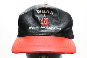 WBAN - WOMEN'S BOXING - 100% GENUINE LEATHER ADJUSTABLE STRAPBACK BALL CAP HAT!