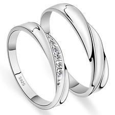 Her And His Couple Promise Ring Band 925 Silver Plated Crystal Wedding Ring Set