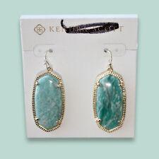 New KENDRA SCOTT ELLE Drop Earrings in Green Amazonite & Gold Plated