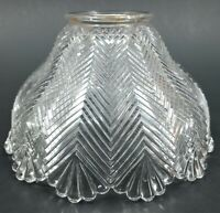Vintage Light Shade Antique Herringbone Holophane Design Glass Globe Replacement