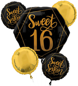 NEW Black & Metallic Gold Sweet 16 Balloon Bouquet ~ 5pc Birthday Party Supplies