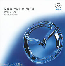 Mazda MX-5 Memories Preisliste 15.11.02 car price list 2002 Auto PKWs Sportwagen