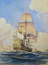 """Vintage French Watercolor, """"Royal Ship of King of France"""", Signed Sivirine, 1952"""