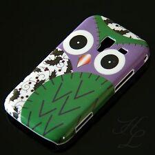 Samsung Galaxy Ace 2/i8160, funda rígida móvil, funda protectora, funda, protección, estuche, motivo búhos, verde, Owl