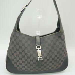 GUCCI JACKIE O Hobo Shoulder Bag Purse GG Pattern Canvas Leather 001 3346 002113