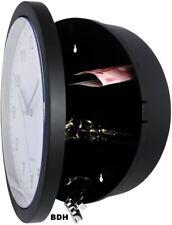 Wanduhr m. Safe Versteck Tresor Uhr schwarz Geldversteck 25cm Quarzuhr Uhrensafe