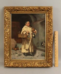 19thC Antique AMELIO SCHWICKER Italian Genre Oil Painting MONK in Wine Cellar NR