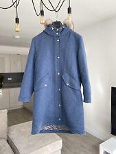 Massimo Dutti Women's Wool Hooded Coat in Blue L
