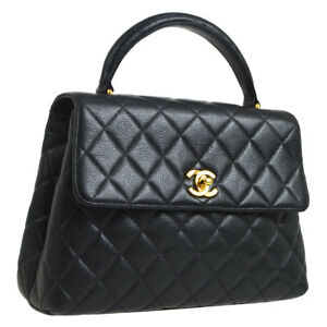CHANEL Quilted Small Hand Bag Top Handle Purse Black Caviar 4427263 AK36803e