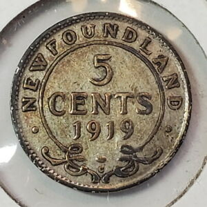 1919C Newfoundland NFLD 5 five cents SILVER - COMBINED SHIPPING - NF021