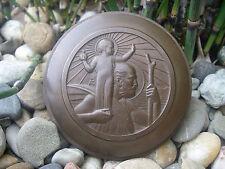 sehr schönes, altes SANKT CHRISTOPHORUS Lenkrademblem Bronze Plakette Frankreich