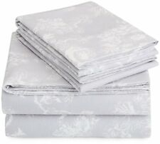 AmazonBasics Printed Lightweight Flannel Sheet Set - Queen, Floral Grey