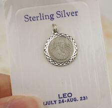 Vintage in Sterling Silver LEO CIONDOLO ROUND DISC ZODIAC STAR segno Leone