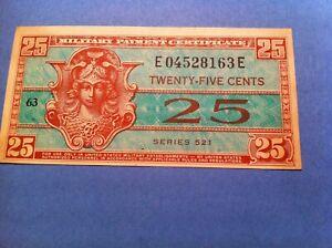 521 MPC 25 Cents, Uncirculated Details,1954, Military twenty five (p28)