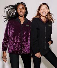 Victoria's Secret Pink LIMITED Sherpa Lined Coaches Jacket L Black Velvet Zip