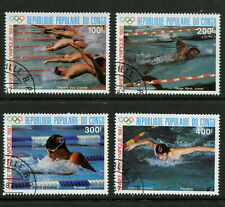 Olympics Swimming CTO Set of 4 Stamps 1987 Congo #C371-4 Seoul Summer 1988