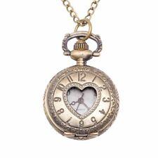 81stgeneration Brass Vintage Style Love Heart Pocket Watch Necklace