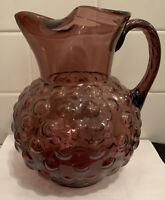Vintage MCM Empoli Murano Large Amethyst Purple Bubble Glass Pitcher Vase 1960s
