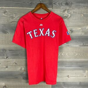 Majestic Mens Red Texas Rangers Micheal Young #10 Graphic T-Shirt Sz M Medium