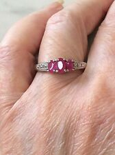 Ring Sterling Silver & Rubies   Size T    (1137J)