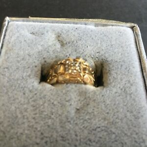 Men's 10K Yellow Gold Nugget Ring with Diamond Size 10.5 (2.9 dwt)