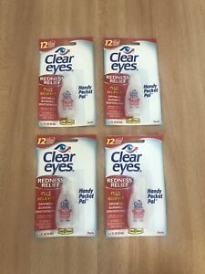 4 Clear Eyes Redness Relief Drops Dry Burning Travel Sterile Lubricant 24ml 12hr
