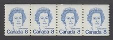 CANADA COIL STRIP OF 4 x 8c  #604 QUEEN ELIZABETH II, CARICATURE DEFINITIVE