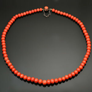 """Antique Mediterranean Coral Beads Necklace 18K Yellow Gold Over Clasp in 18"""""""