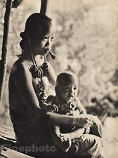 1940 Vintage BORNEO MOTHER & CHILD Female Nude Naked Breasts Jewelry ~ K.F. WONG