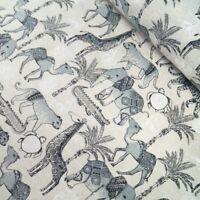 Cotton Linen Look Fabric Safari Animals Giraffe Crocodile Elephant 135cm Wide