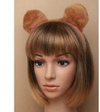 BROWN SOFT FURRY TEDDY BEAR EARS ALICEBAND HEADBOPPER ANIMAL ZOO FANCY DRESS