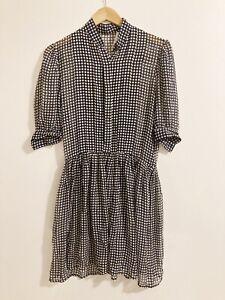 Albert Nipon Silk Dress Black Polka Dot Sheer Dress Size 8