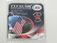 3'X5' US Flag outdoor quality poly cotton; Brass grommets; house/pole mount; New