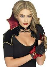 WOMEN'S  FANCY DRESS HALLOWEEN VAMPIRE KIT, BLACK, WITH CAPE, COLLAR & GLOVES