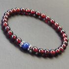 Men's Women Garnet Lapis Bracelet 925 Sterling Silver Bead Caps DIY-KAREN 570