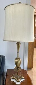 Gold and Marble Base Lamp Circa 1970's 60-Watt Bulb Plug-In Lamp With Lampshade