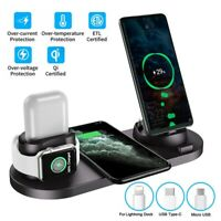6 in1 Multi-function Wireless Charger Dock Pad For Apple Watch AirPod iPhone